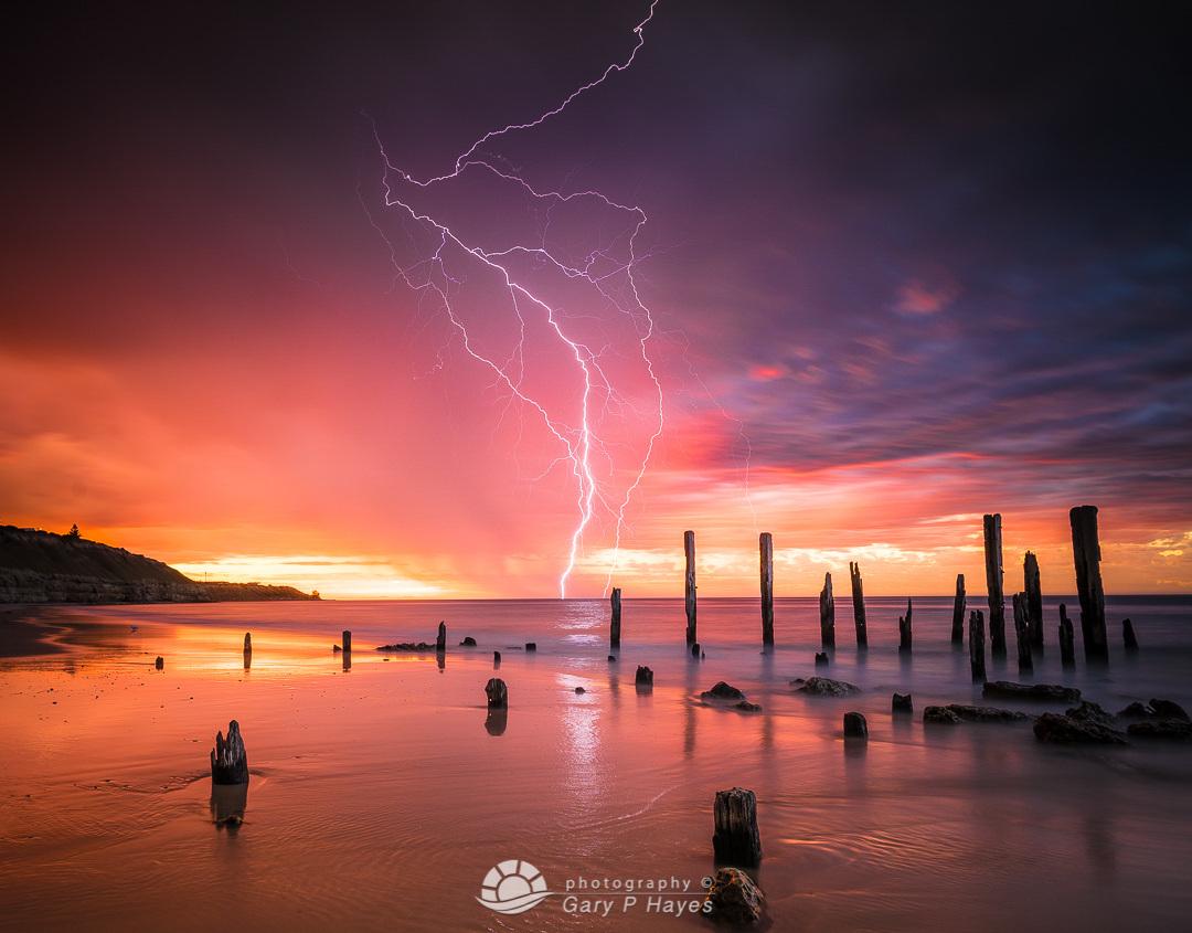 Old Willunga Pier Lightning