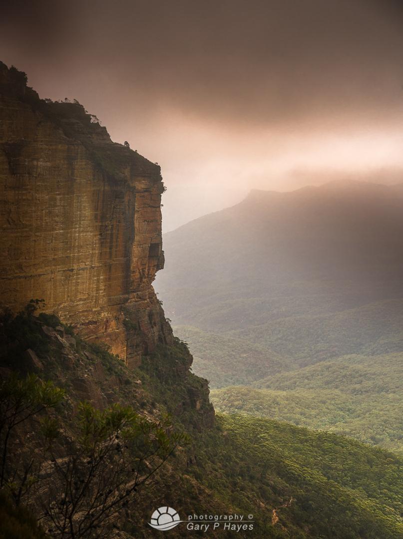 Landslide beneath the mist