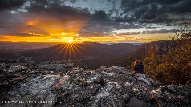Hornes Point Couple and Sunset, Mount Victoria
