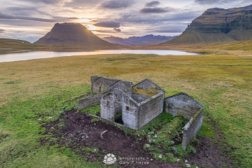 Old Building with Kirkjufell in Background